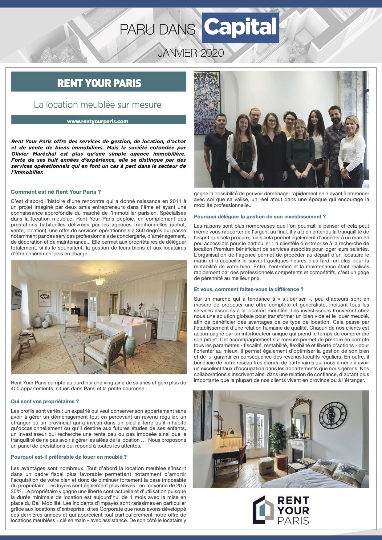 RENT YOUR PARIS dans le dossier Investissement & Gestion Immobilière de CAPITAL